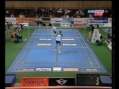 Badminton - Bitburger Open 2003 Saarbrücken Joachim Fischer Nilsen vs. Xie
