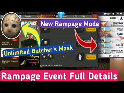 How To Get Butcher's Mask In Free Fire || Free Fire Rampage Event & Rampage Mode Full Details