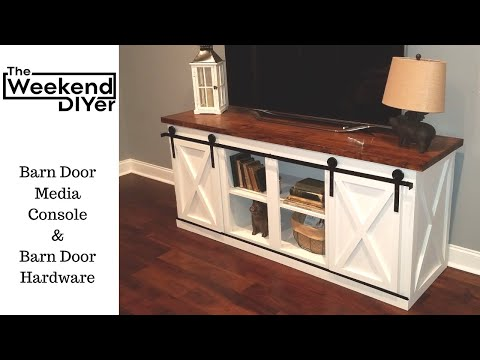 "DIY Barn Door Media Console With ""X"" Pattern including the barn door hardware"