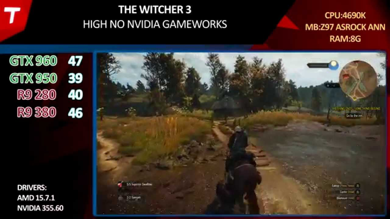Witcher 3 : GTX 960 vs GTX 950 vs R9 380 vs R9 280 v1 8