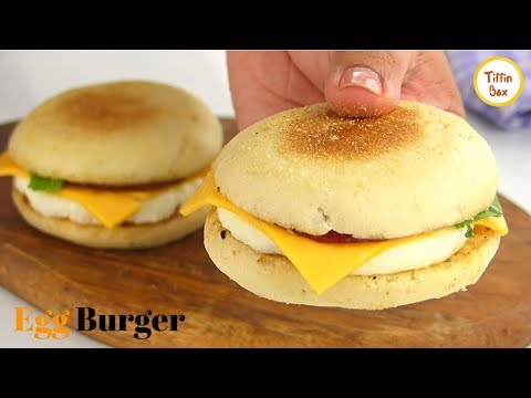 Homemade McDonalds Egg Burger Recipe by Tiffin Box | How to make Egg McMuffin, English muffin