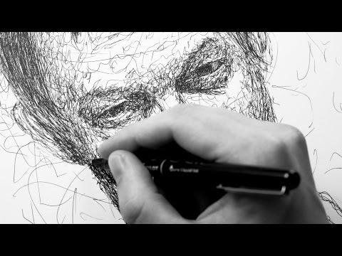 Portrait drawn entirely by scribbling - Ballpoint Pen