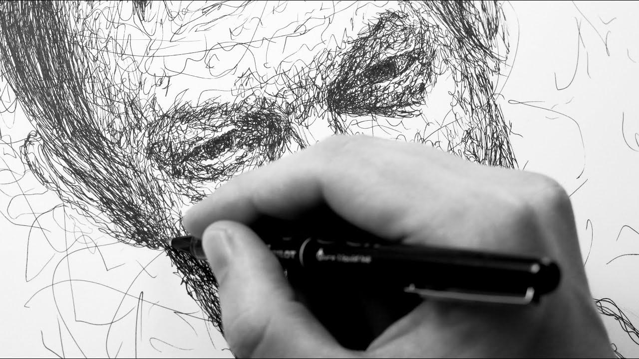 Scribble Pen Drawing : Portrait drawn entirely by scribbling ballpoint pen youtube