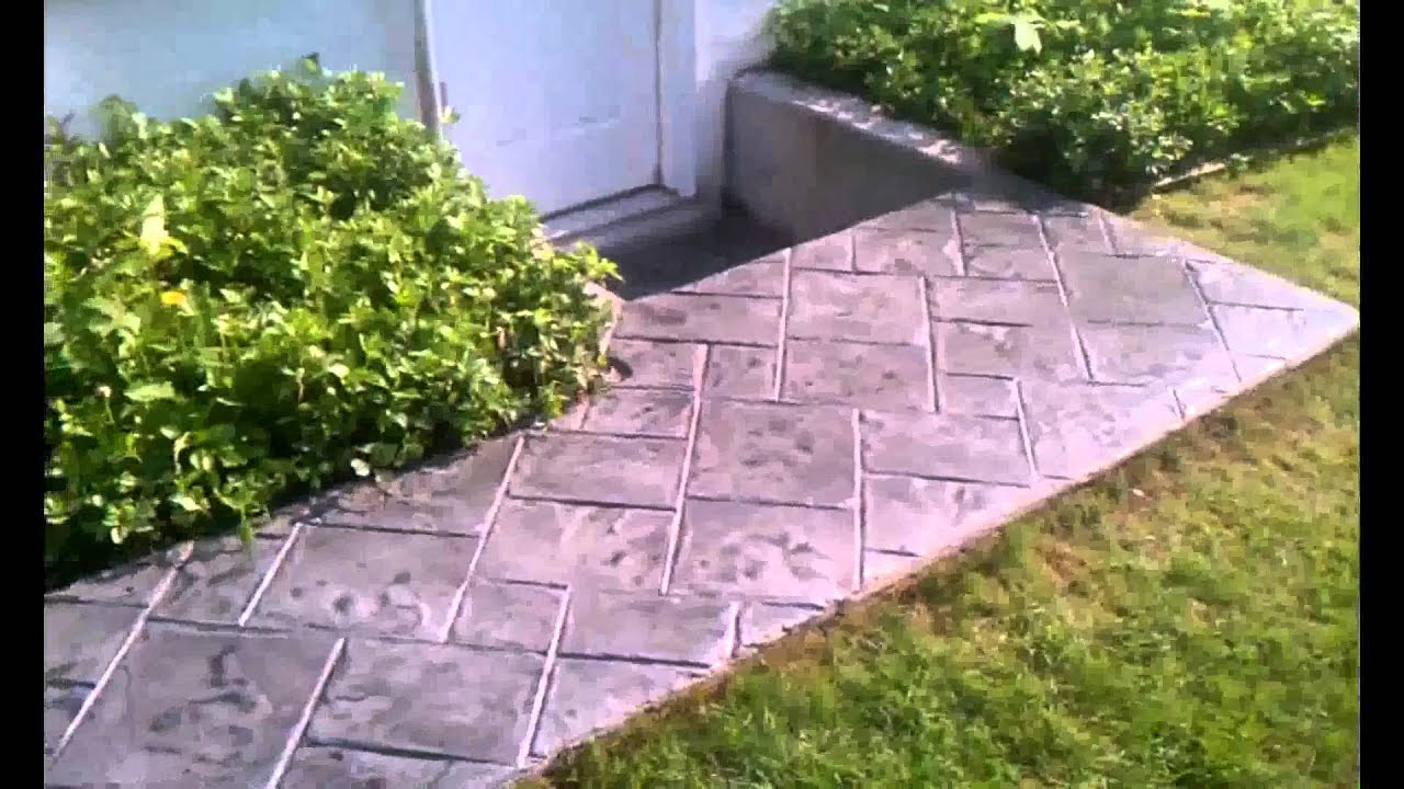 Stamped concrete overlay walkway stairs youtube for Removing concrete walkway
