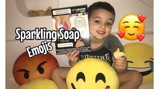 Sparkling Soap Emojis. Unicorn emoji, heart emoji, wink emoji and more!