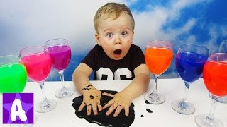 Little Boy Alex Play and Learns Colors with SLIME
