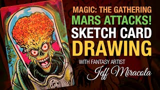 Magic the Gathering Artist Proof card sketch of Mars Attacks by artist Jeff Miracola
