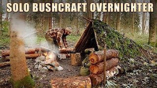 Bushcraft Overnighter  - Solo in a Moss Shelter, Spit Roasted Chicken & Rock baked Bannock