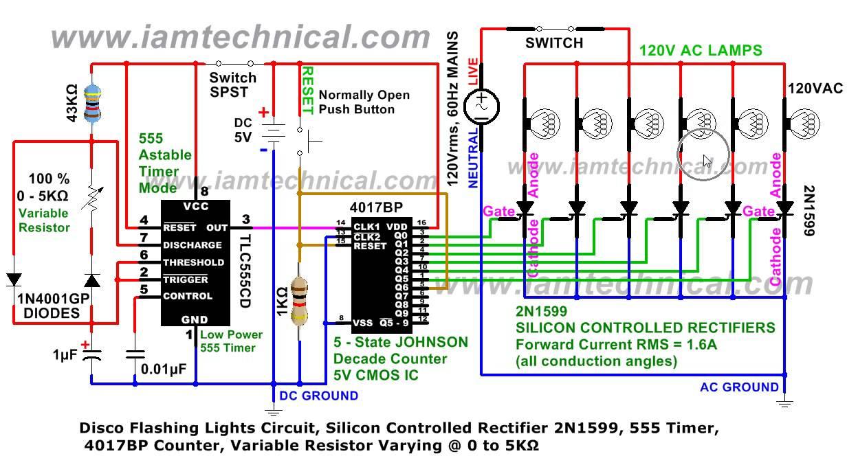 555 Timer Circuits Flashing Lights Led Circuit Disco Thyrister Variable Resistor K 1232x664