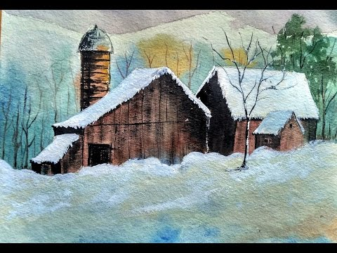 Lovely Village in Deep Snow | watercolor painting | Paint with david |