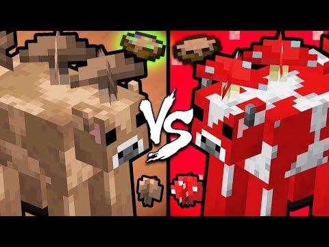 Brown Mooshroom Vs. Red Mooshroom - Minecraft