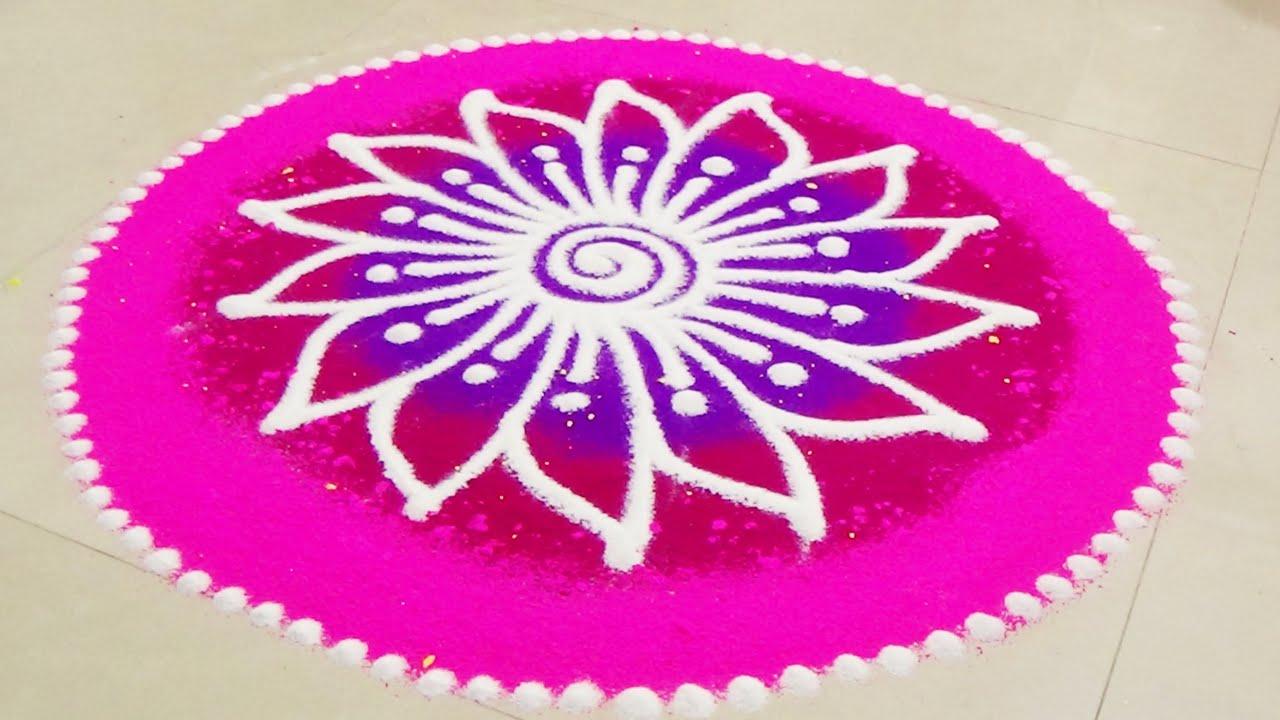Simple cute hand rangoli diy how to draw rangoli basics for Home made rangoli designs