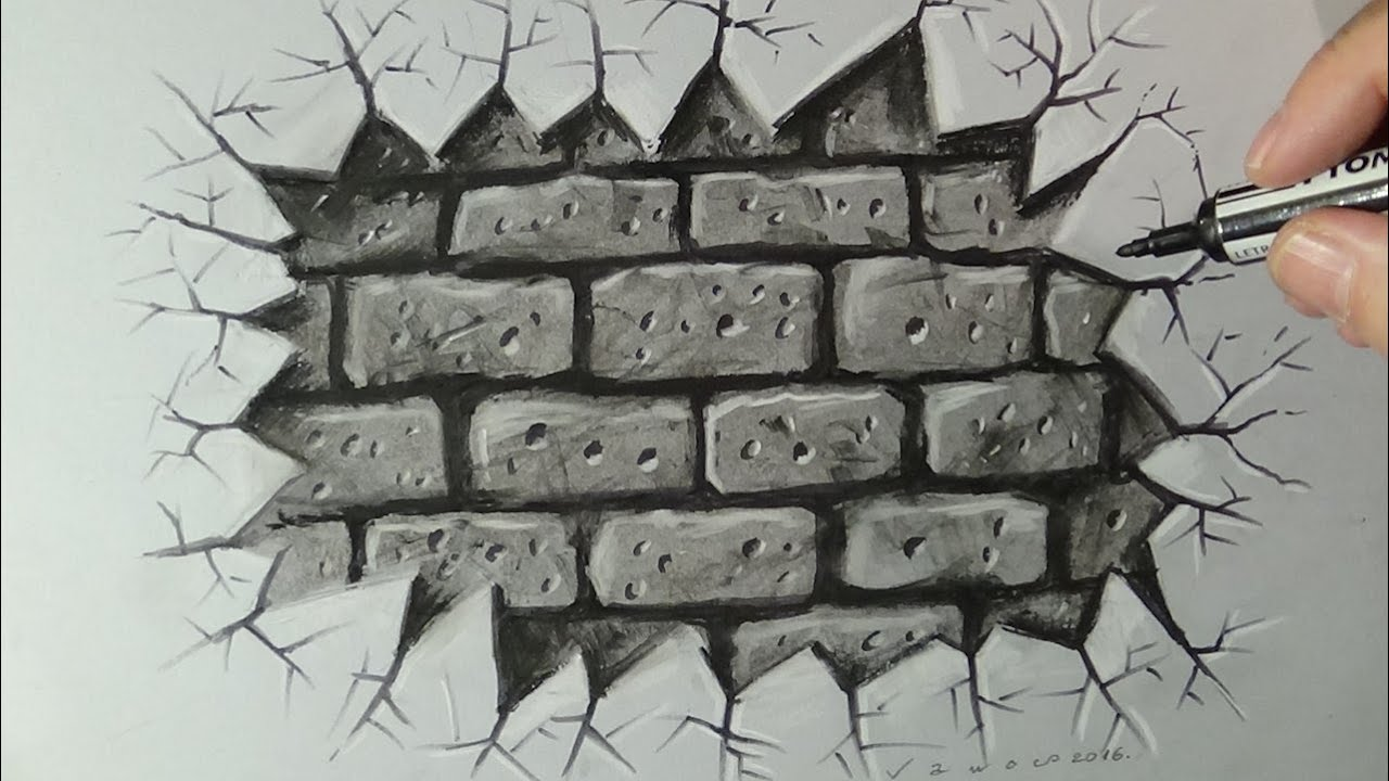 Cracked brick wall drawing brick wall - Cracked Brick Wall Drawing Brick Wall 0