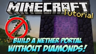 Minecraft | BUILD A NETHER PORTAL WITHOUT DIAMONDS?! | How To/Tutorial [PC & XBOX] thumbnail
