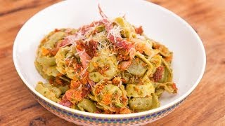 Cheese & Spinach Tortellini, Prosciutto And A Sundried Tomato & Rocket Sauce By Adam Swanson