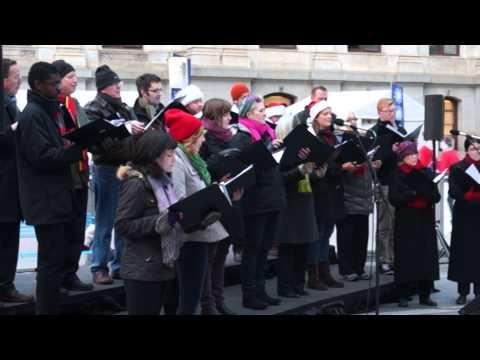 Mendelssohn Club singers at Dilworth Park - 12/2/2014