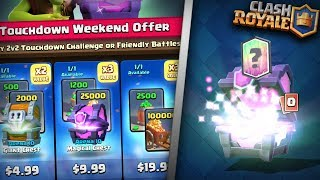 YOU WONT BELIEVE THESE OFFERS! BUYING ALL TOUCHDOWN WEEKEND OFFER PACKS IN CLASH ROYALE!