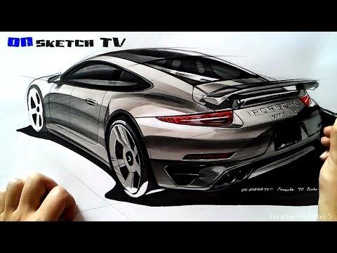 온스케치 TV Car Sketch - Porsche 911 turbo S sketch (Color Pencil+AD Marker)