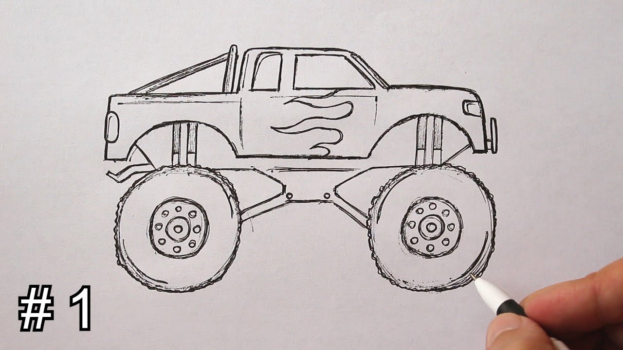 How To Draw A Monster Truck Easy Part 1 Youtube