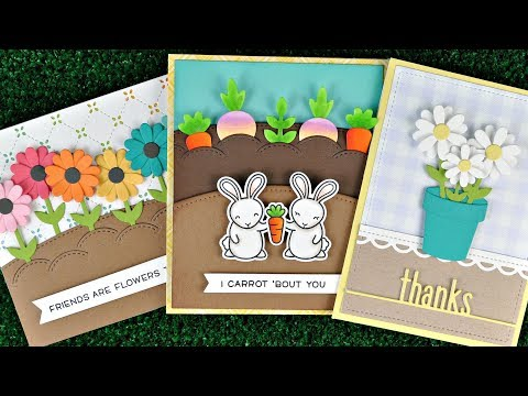 Intro to Stitched Garden Border + Little Flowers + 3 cards from start to finish