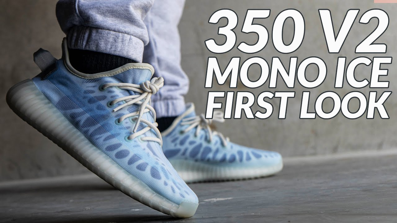 FIRST LOOK: YEEZY 350 V2 MONO ICE, UNBOXING & REVIEW.