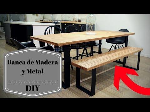Cómo hacer una Banca de madera y metal DIY ¡ CON PLANOS!!
