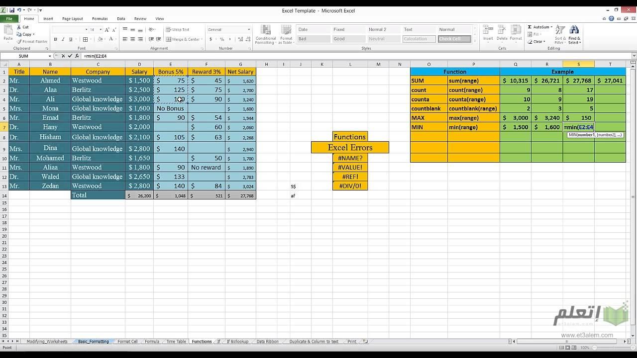 et3alem.com | Microsoft Excel 2010 .. Formula Basics