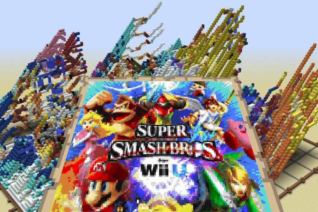 Elegant SSB Wii U   28hour Time Lapse   Pixel Art With Minecraft Map   YouTube