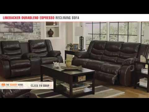 Ashley Linebacker DuraBlend Espresso Reclining Sofa