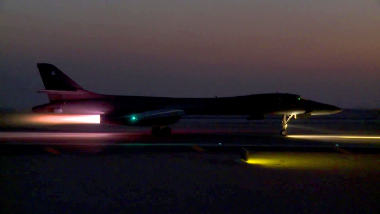 B 1B Lancer Day Night Time Takeoff