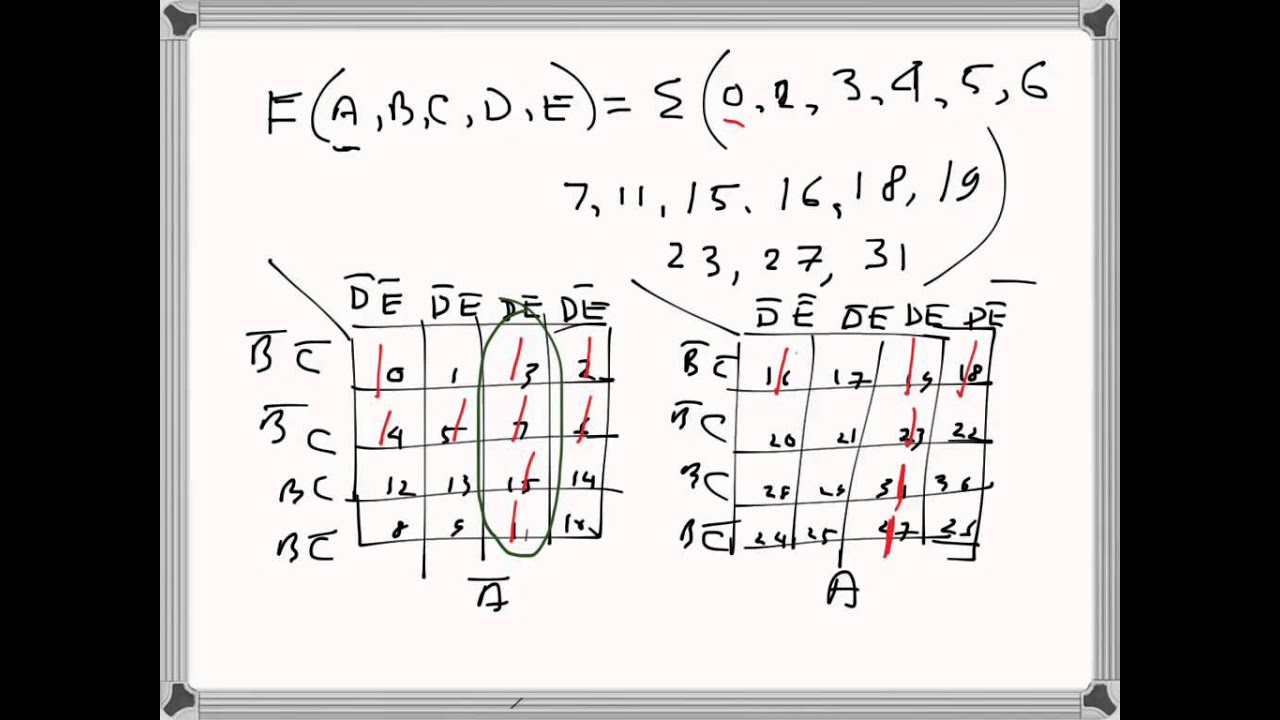 Digital Electronics Five variable Karnaugh Map problem example