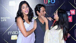 Nawazuddin Siddiqui, Rajshri Deshpande & Kubra Sait have a fun moment at iReel Awards 2018.