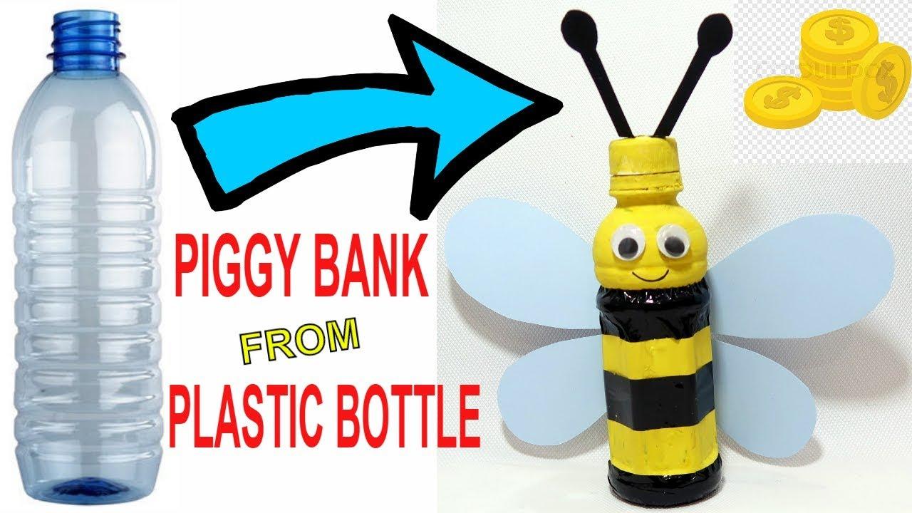Honey bee piggy bank from plastic bottle plastic bottle for Plastic bottle piggy bank craft
