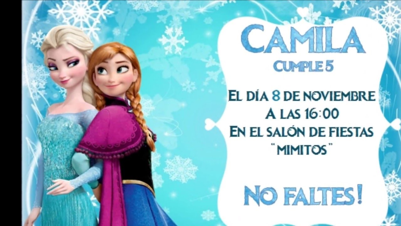 Invitacion de Frozen gratis! 100% editable! YouTube