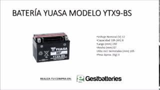 BATERÍA YUASA MODELO YTX9 BS