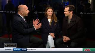 keri russell and matthew rhys interview at ny rangers game  feb 25th 2018