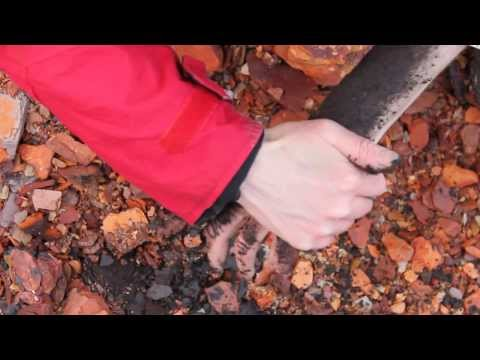 Oil shale waste on hands/arms