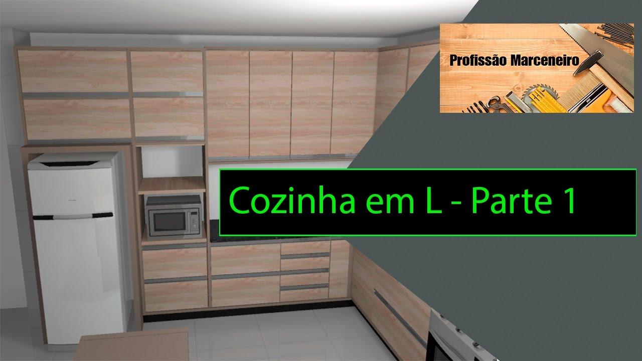 Artesanato Rede Vida ~ Cozinha em L Parte 1 Como fazer Móveis Planejados