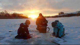 Зимняя рыбалка с детьми, на Москве реке.