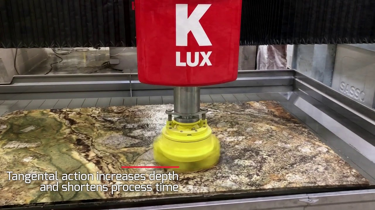 Sasso K-Lux with CoMes head polishes, hones and leathers granite, marble and quartz.