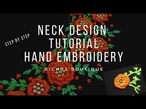 Neck design tutorial | Golden beads inside Flower| Handembroidery | Chudi /kurtha |Neckline|Beadwork
