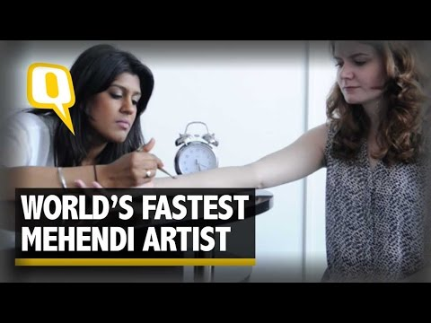 World's Fastest Mehendi Artist Displays Her Skills