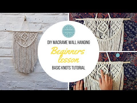 DIY Macrame Wall hanging- Beginners Tutorial- Basic Knots Step by Step thumbnail