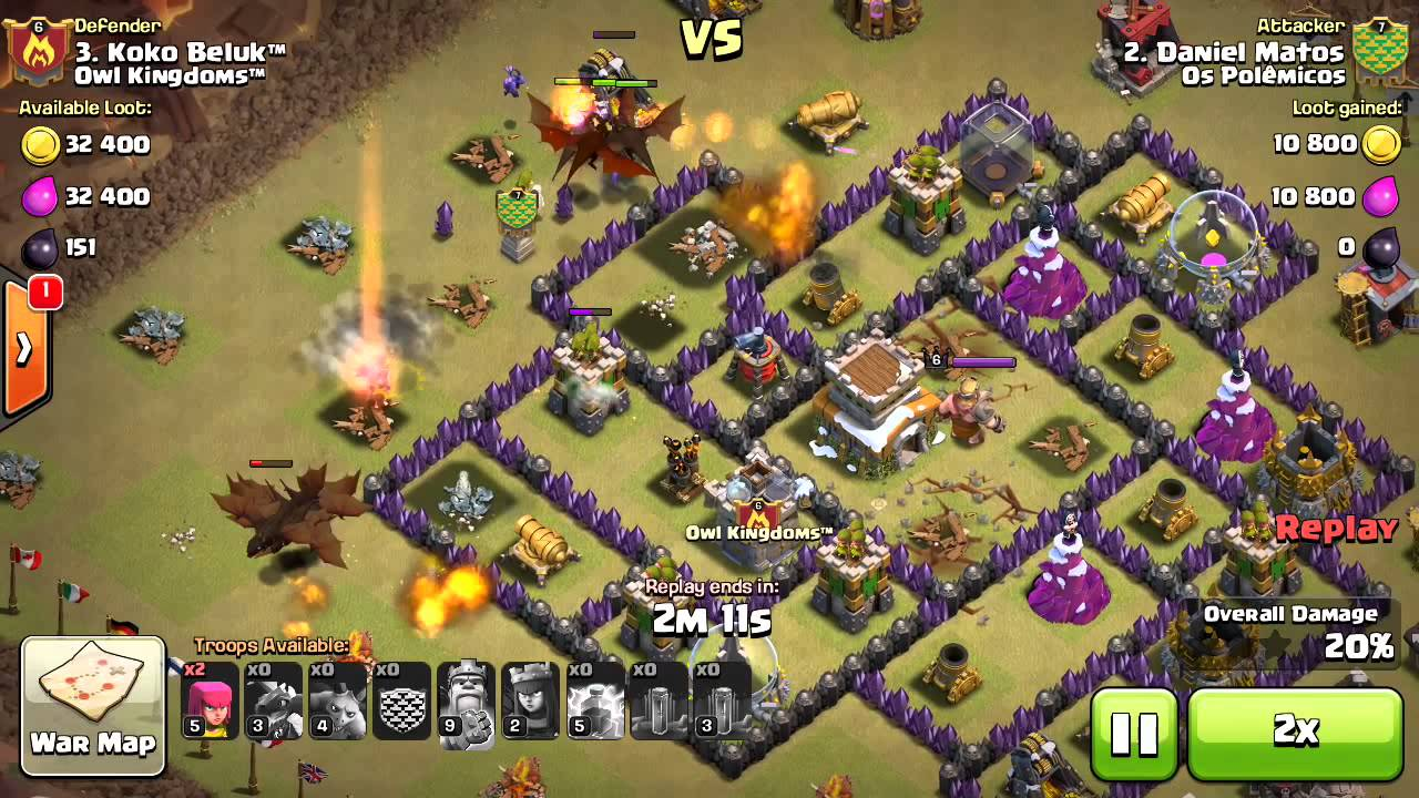 Base War Coc Th 8 Terkuat Dragon Attack Twisting Youtube