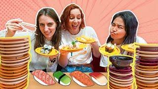 Sushi Eating Challenge - Japanese Conveyor Belt Sushi 🍣