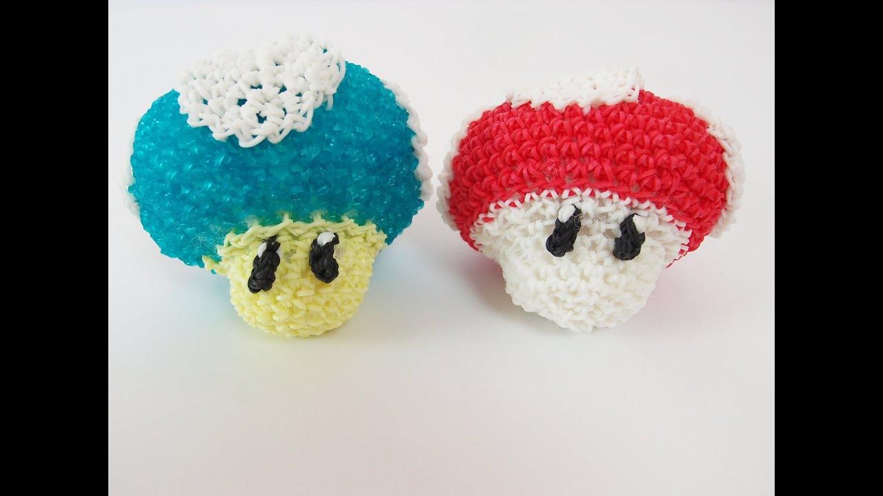 Amigurumi Monster Crochet Patterns : Mario Mushroom Mario Bros Rainbow Loom Bands Amigurumi ...