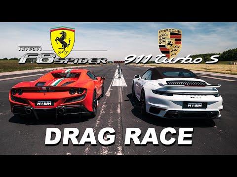 Porsche 911 Turbo S 992 vs. Ferrari F8 Spider  DRAG RACE   Daniel Abt