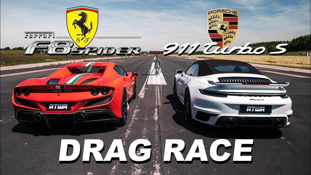 Porsche 911 Turbo S 992 vs. Ferrari F8 Spider |DRAG RACE | Daniel Abt