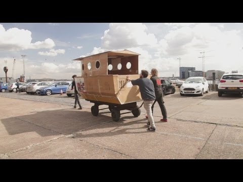 Cardboard houseboat hits the River Thames