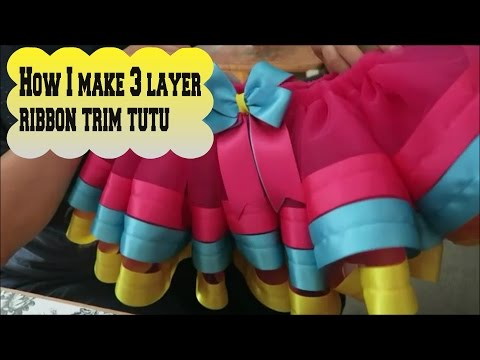 How I Make 3 Layer Ribbon Trim Tutu - Embroidery Business Work Vlog - April 2 2016
